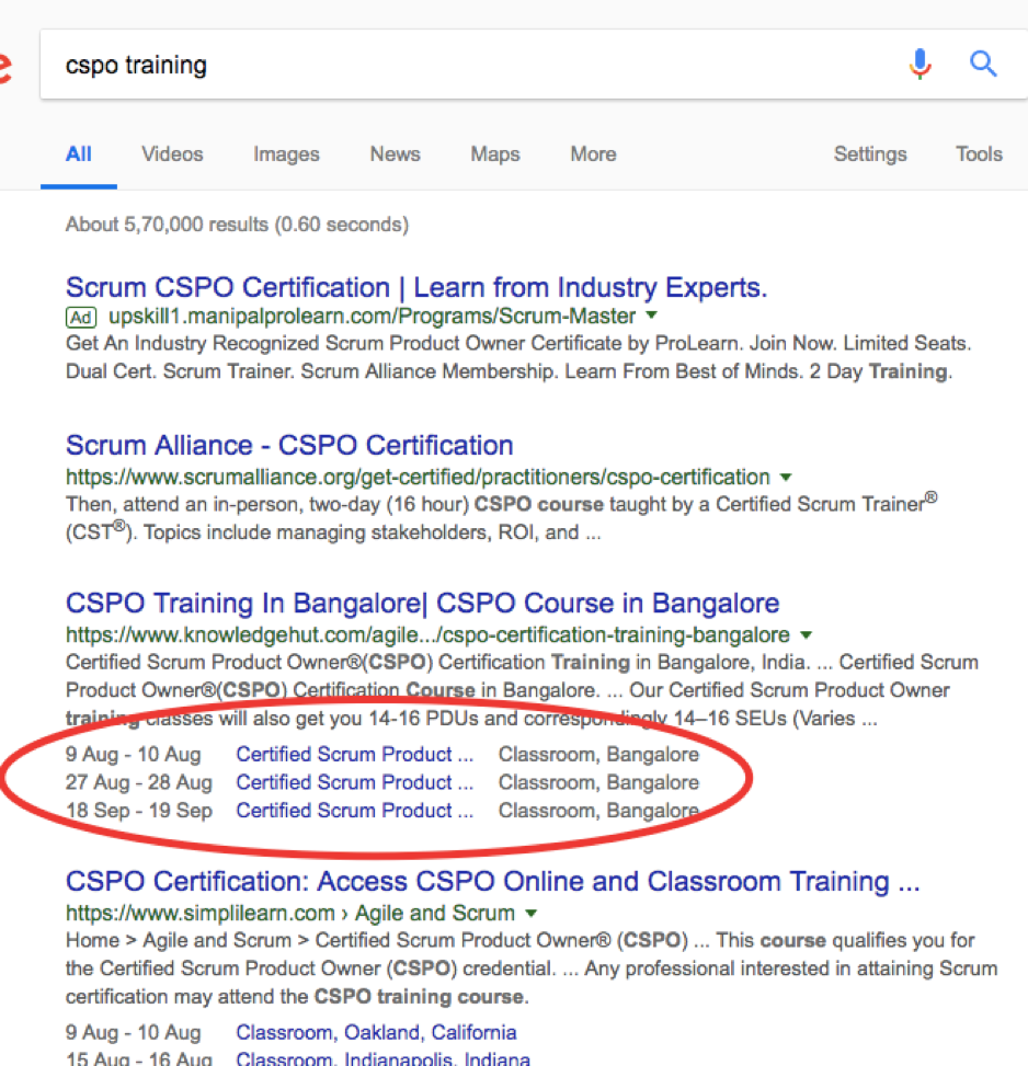 Educational event richsnippets