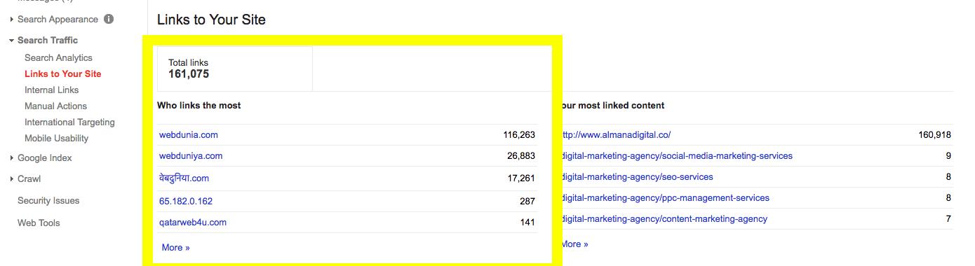 Backlinks on webmaster tools